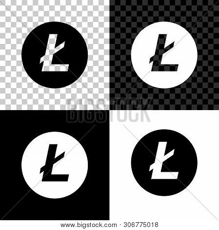 Cryptocurrency Coin Litecoin Ltc Icon On Black, White And Transparent Background. Physical Bit Coin.