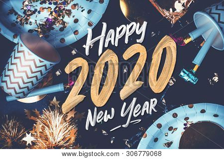 2020 Happy New Year Hand Brush Storke Font On Marble Table With Party Cup,party Blower,tinsel,confet