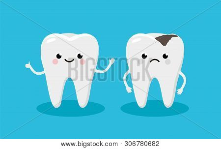 Happy Healthy Tooth And Moody Tooth With Cavity Cartoon Characters In Flat Design. Dental Infographi