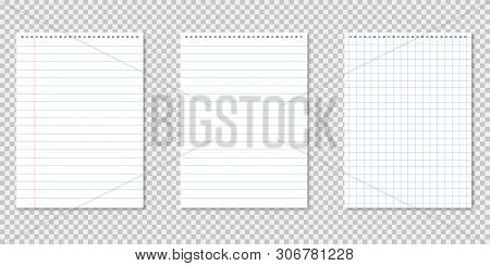 Notebook Lined Paper On Transparent Background With Shadows. Notepad Page. Blank Paper.