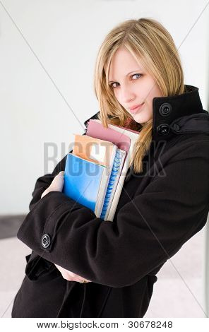 Attractive Blond Student Woman.