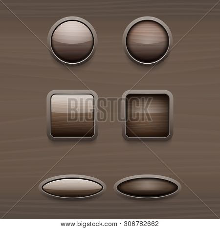 A Set Of Wooden Buttons. The Interface Is Wooden. Vector. Wooden Buttons On The Wooden Panel