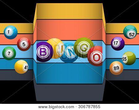 Bingo Balls And Bingo Balls Stating The Word Bingo Over Abstract Striped And Black Background
