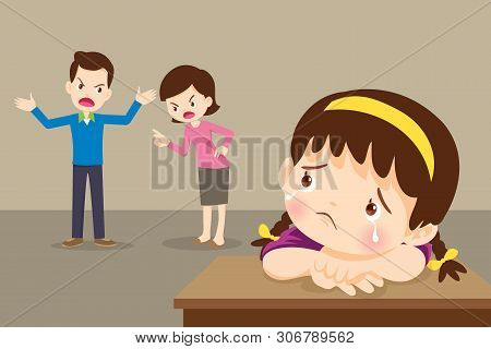 Sad Child Girl Crying With Angry Dad And Mom Quarreling.parents Fighting Children Crying.little Girl