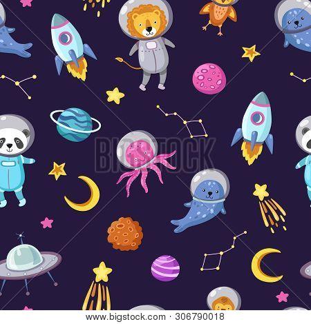 Space Animals Pattern. Cute Baby Animal Astronauts Flying Kid Pets Cosmonauts Funny Spaceman Boy Sea