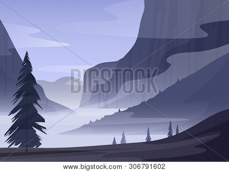 Conifer Trees Growing Near Mountain Ridge In Foggy Morning In Countryside Landscape Mystery Vector I