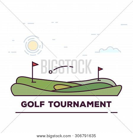 Line Style Golf Club Poster. Blue Sky And Green Golf Field. Golfclub Competition Poster. Championshi