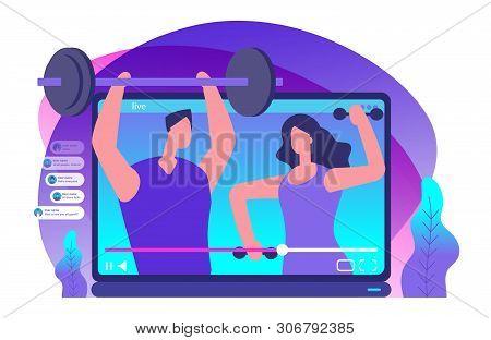 Sport Livestream Video. Sports Bloggers Vector Illustration. Sport Blogger Media, Video Blogging Abo