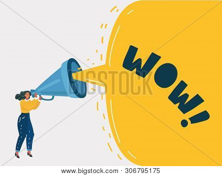 Cartoon Vector Illustration Of Advertising Promotion. Woman Character Shout In Vintage Loudspeaker,