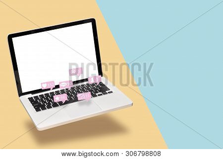 Notebook Computer Laptop With Blank White Screen With Notification Icons From Social Media Interacti