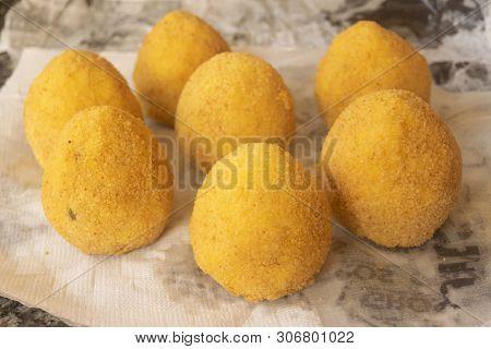 Series Of Fried Home Made Sicilian Arancine