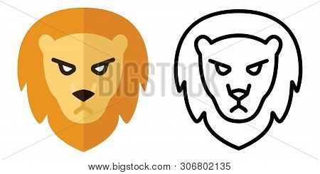Set Of Icons - Logos In Linear And Flat Style. The Head Of A Lion. Vector Illustration