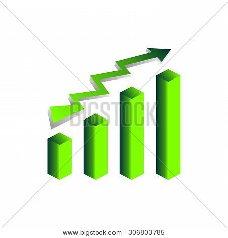 Green Vector Growth Graph Icon With Arrow Move Up. Vector Graphic Illustration Of Column Chart.