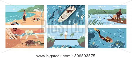 Collection Of Scenes With Garbage And Plastic Debris Floating In Sea, Ocean, Lake Or River Or Scatte