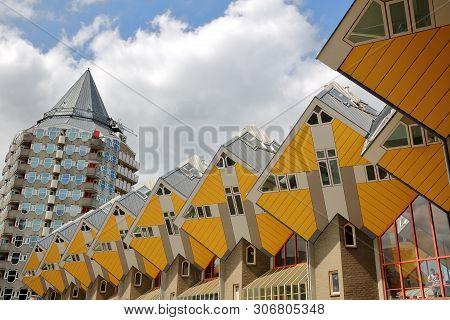 Rotterdam, Netherlands - May 31, 2019: Cube Houses (kijk Kubus), Architectural Unusual Angular Cube