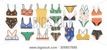 Collection Of Stylish Womens Lingerie And Swimwear Isolated On White Background. Set Of Fashionable