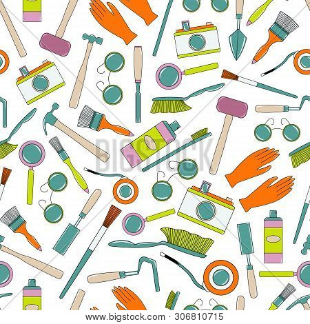 Seamless Pattern With Tools Of Geologist, Archaeologist, Builder. Flat Cartoon Style Vector Illustra