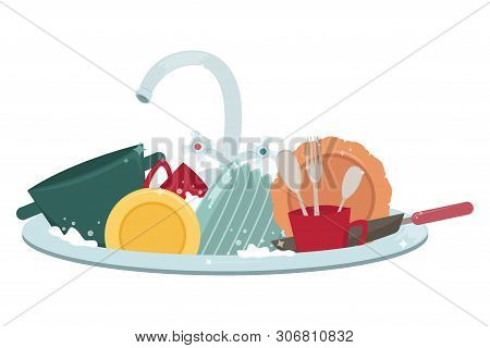 Kitchen Sink With Clean Dishes And Towels. Housework. Flat Cartoon Style Vector Illustration