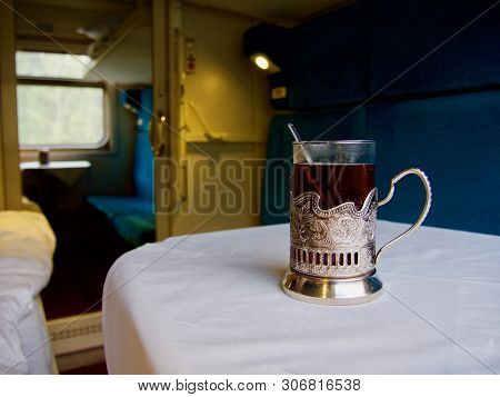 Classic Tea Drinking In A Russian Train