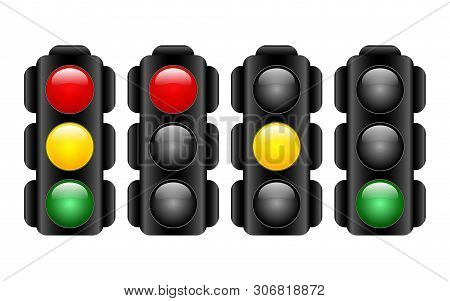 Set Of Traffic Lights In Realistic Style. Semaphore Design. Vector Illustration Isolated On White Ba