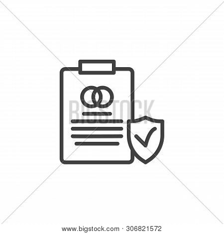 Prenuptial Agreement Document Line Icon. Couple Divorce Linear Style Sign For Mobile Concept And Web