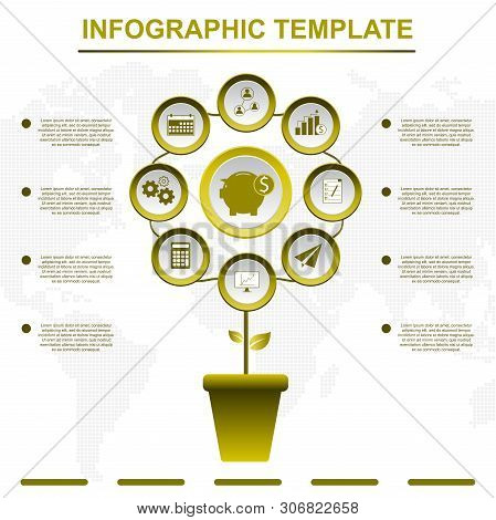 Abstract Tree Infographics Elements. Gold Infographic Template With 9 Titles, Diagram With Steps, Bu