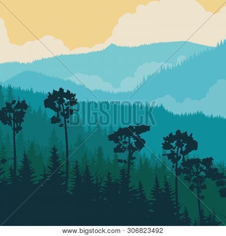 Square Illustration Of Foggy Coniferous Forest With Clouds In Blue Tone.