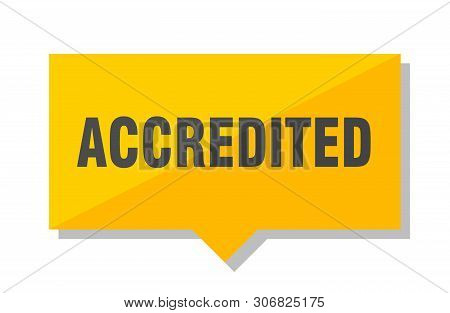 Accredited Yellow Square Price Tag On White Background