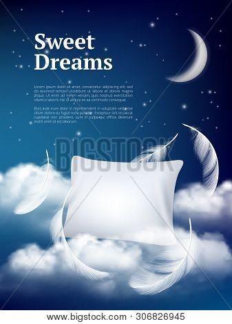 Night Dream Pillow. Advertizing Poster With Pillows Clouds And Feathers Comfortable Space Vector Rea
