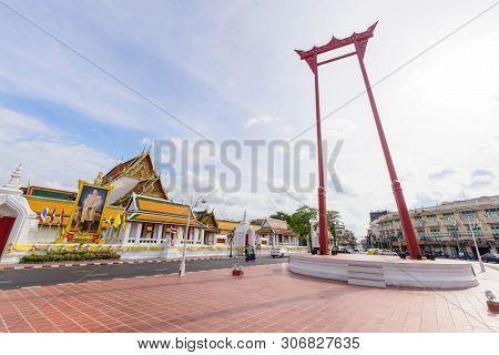 Bangkok , Thailand - 13 June, 2019 :giant Swing Landmark Of Bangkok City In Sunset Time / Sao Ching