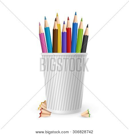 Realistic Vector Color Pencils In Glass Isolated On White Background. Illustration Of Color Pencil F