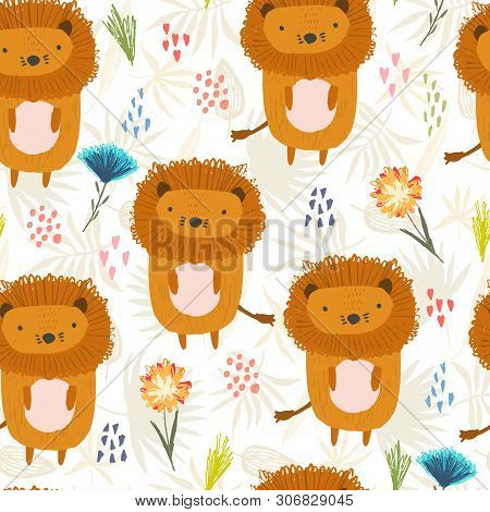 Cute Seamless Pattern With Orange Lions, Colorful Dots And Childish Flowers On Tropical Leaves Backg