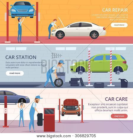 Car Service Banners. Mechanic Workshop Repair Auto Vector Advertising Banners. Illustration Of Mecha