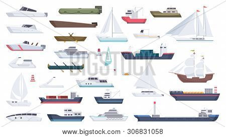 Sea Ship. Travel Boat Boating Illustrations Motorboat Ocean Big Vessel Vector Cartoon. Sea Travel Cr