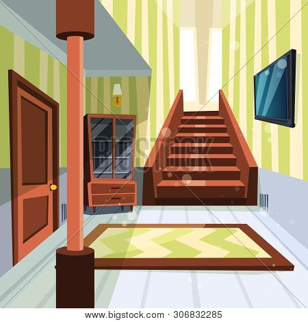 poster of House interior. Apartment light room hallway with staircase and storage room vector cartoon illustrations. House interior hall room, home apartment staircase