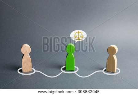 A green man mediates between two people. Judge the two sides and come to a compromise. Negotiations, business deal. Ask for advice from an experienced specialist. Fair resolution of conflict, dispute poster