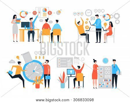Work Organization. Task Management People Productivity Organize Process Efficiency Vector Stylized C