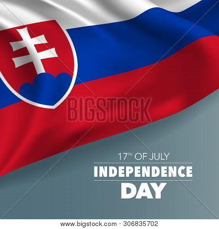Slovakia Happy Independence Day Greeting Card, Banner, Vector Illustration. Slovakian Holiday 17th O