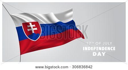 Slovakia Happy Independence Day Greeting Card, Banner, Horizontal Vector Illustration. Slovakian Hol
