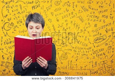 Stunned Woman Reader Looking Amazed In A Book. Mathematics Calculations, Economics Formula And Equat