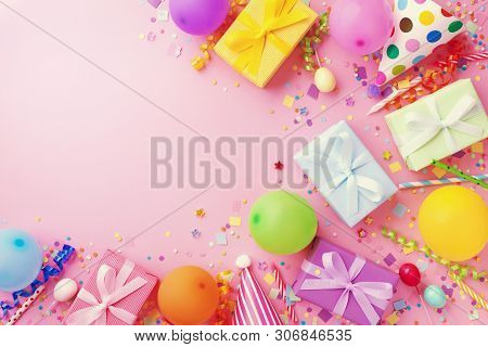 Birthday Party Table With Balloons, Gift Or Present Boxes, Confetti And Holiday Supplies. Top View.