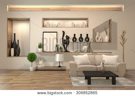 Minimal Interior Design Room Zen Style With Sofa, Arm Chair, Low Table And Decoration Japan Style De