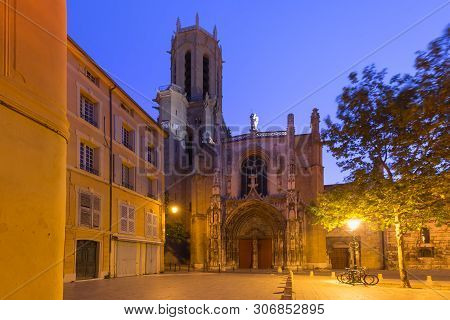 Aix Cathedral Or Cathedral Of The Holy Saviour Of Aix-en-provence At Night, Provence, Southern Franc