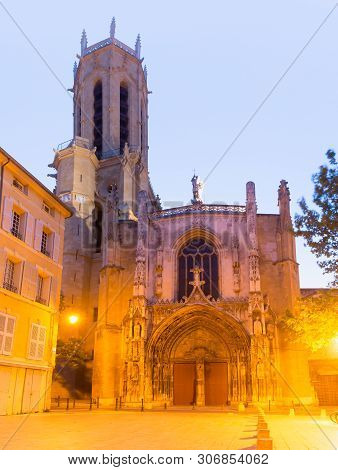 Aix Cathedral Or Cathedral Of The Holy Saviour Of Aix-en-provence In The Morning, Provence, Southern