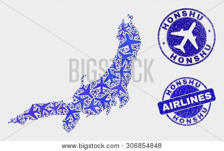 Airline Vector Honshu Island Map Composition And Scratched Seals. Abstract Honshu Island Map Is Form