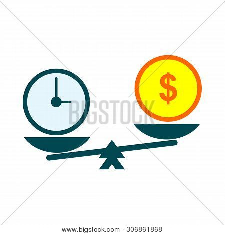 Time Is Money On Scales Icon. Money And Time Balance On Scale. Weights With Clock And Money Coin. Ve