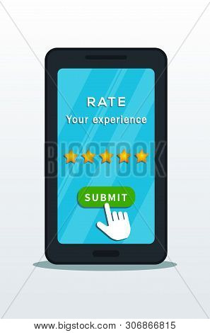 Five Star Quality Rating System On Smartphone Screen With Hand Cursor Pointer Click On Submit Button