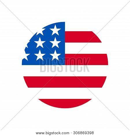 United States Flag Icon Isolated On White Background. United States Flag Icon In Trendy Design Style