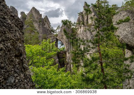 Rock Formation Called Gothic Gate In Sulov Rocks At Slovakia