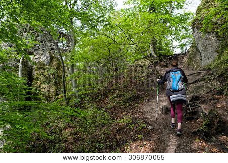 Hiking Woman And Ruins Of Sulov Castle, Slovakia